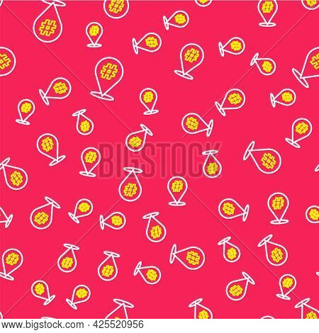Line Protest Icon Isolated Seamless Pattern On Red Background. Meeting, Protester, Picket, Speech, B