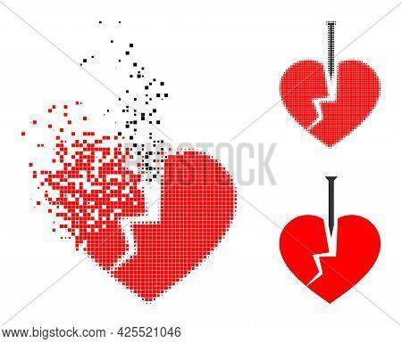 Damaged Dotted Crack Love Heart Pictogram With Halftone Version. Vector Destruction Effect For Crack