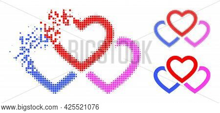 Fragmented Pixelated Triple Love Hearts Icon With Halftone Version. Vector Destruction Effect For Tr