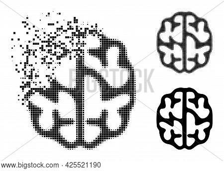 Erosion Pixelated Brain Glyph With Halftone Version. Vector Destruction Effect For Brain Pictogram.