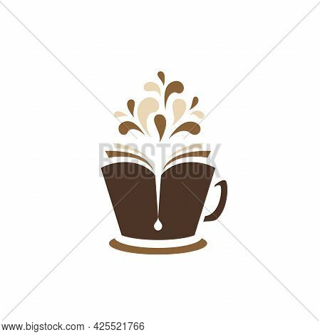 Open Book As A Hot Cup Of Coffee With Drops Flying Out. Reading Club, Book Club, Hobby Logo Isolated