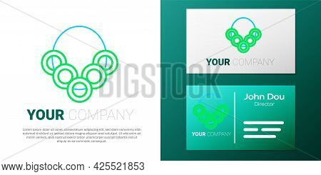 Line Russian Bagels On A Rope Icon Isolated On White Background. Colorful Outline Concept. Vector