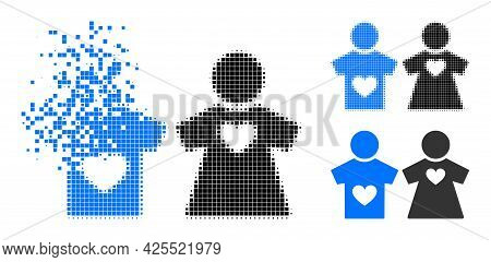 Disintegrating Pixelated Lovers Pair Pictogram With Halftone Version. Vector Destruction Effect For