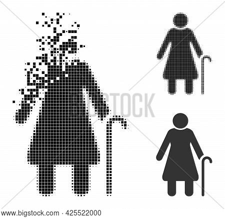 Burst Dotted Grandmother Icon With Halftone Version. Vector Wind Effect For Grandmother Icon. Pixela