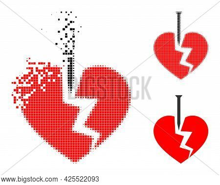 Destructed Pixelated Break Valentine Heart Icon With Halftone Version. Vector Destruction Effect For