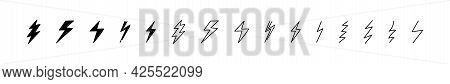 Lightning Vector Electric Thunderbolt Doodle Icon Set, Hand Drawn Scribble Sketch Style Thunder Bolt