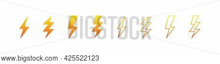 Lightning Vector Electric Thunderbolt Flat And Outline Icon Set, Yellow And Orange Symbol Style Thun