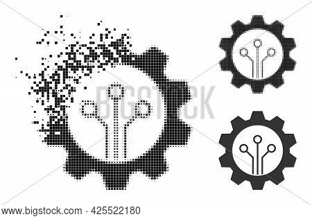 Moving Dotted Gear Sensor Icon With Halftone Version. Vector Destruction Effect For Gear Sensor Icon