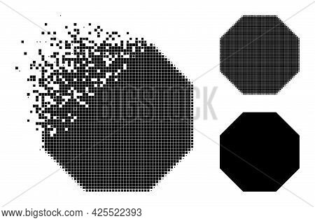 Dissolving Dotted Octagon Glyph With Halftone Version. Vector Destruction Effect For Octagon Pictogr