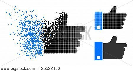 Dispersed Dotted Thumb Up Pictogram With Halftone Version. Vector Wind Effect For Thumb Up Pictogram