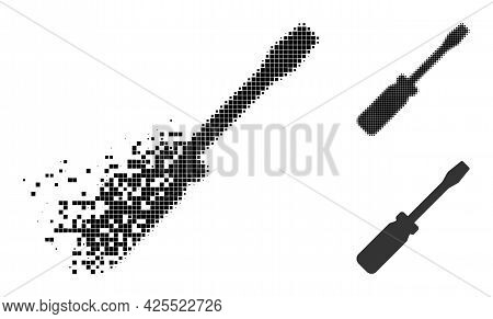 Dust Pixelated Screwdriver Tool Icon With Halftone Version. Vector Destruction Effect For Screwdrive