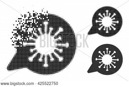 Erosion Pixelated Viral Message Icon With Halftone Version. Vector Destruction Effect For Viral Mess