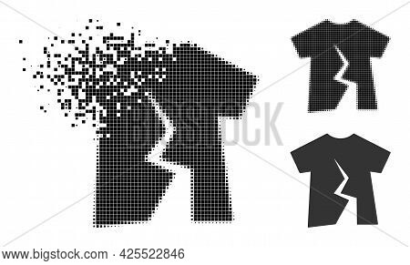 Dissipated Dot Torn T-shirt Icon With Halftone Version. Vector Wind Effect For Torn T-shirt Icon. Pi