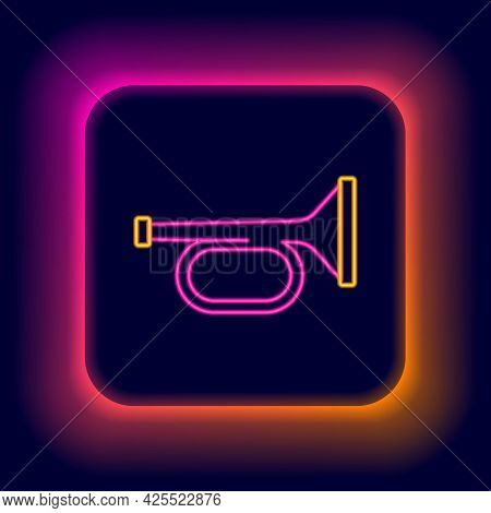 Glowing Neon Line Trumpet Icon Isolated On Black Background. Musical Instrument Trumpet. Colorful Ou
