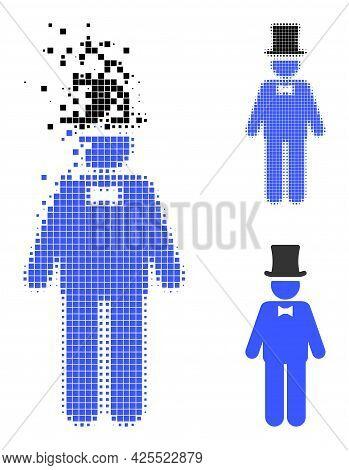 Disintegrating Pixelated Gentleman Icon With Halftone Version. Vector Destruction Effect For Gentlem