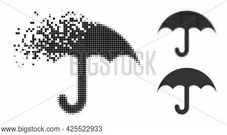 Erosion Dotted Umbrella Icon With Halftone Version. Vector Destruction Effect For Umbrella Icon. Pix