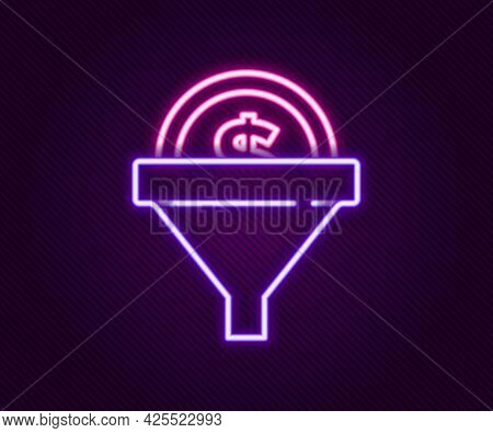 Glowing Neon Line Lead Management Icon Isolated On Black Background. Funnel With Money. Target Clien