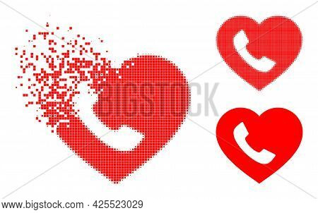 Destructed Dot Favourite Phone Icon With Halftone Version. Vector Destruction Effect For Favourite P