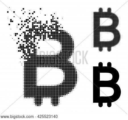 Dissolving Dot Bitcoin Icon With Halftone Version. Vector Wind Effect For Bitcoin Symbol. Pixelated