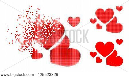 Burst Pixelated Love Hearts Icon With Halftone Version. Vector Wind Effect For Love Hearts Icon. Pix