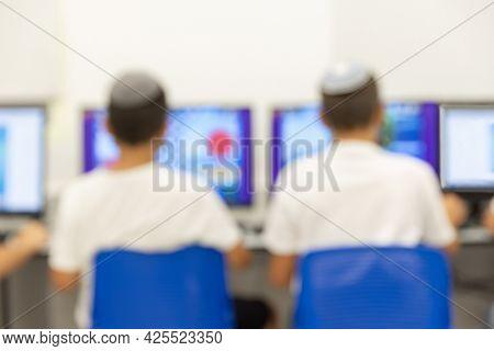 Jewish boys with kippah  in the computer classroom, Blur Image For background usage, Jewish School, Israeli Kids, Israel