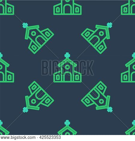 Line Church Building Icon Isolated Seamless Pattern On Blue Background. Christian Church. Religion O