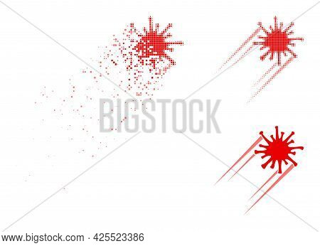 Disintegrating Dotted Rush Covid Virus Pictogram With Halftone Version. Vector Destruction Effect Fo