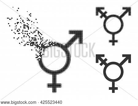 Dissipated Dotted Three Gender Symbol Glyph With Halftone Version. Vector Destruction Effect For Thr