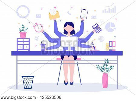 Multitasking Business Woman Or Office Worker As Secretary Surrounded By Hands With Holding Every Job