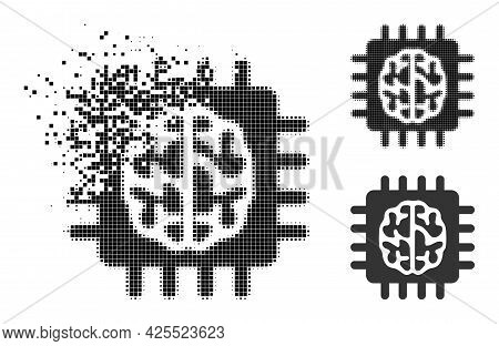 Moving Pixelated Brain Chip Pictogram With Halftone Version. Vector Wind Effect For Brain Chip Icon.