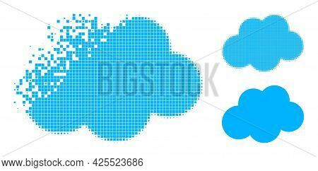 Fractured Dotted Cloud Pictogram With Halftone Version. Vector Destruction Effect For Cloud Icon. Pi