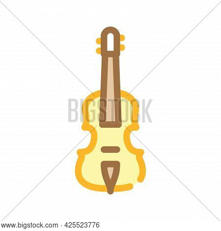 Acoustic Violin Color Icon Vector. Acoustic Violin Sign. Isolated Symbol Illustration