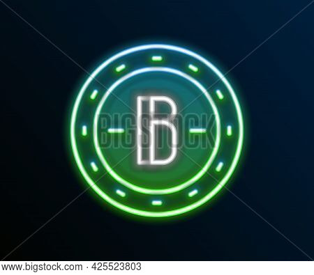 Glowing Neon Line Cryptocurrency Coin Bitcoin Icon Isolated On Black Background. Physical Bit Coin.