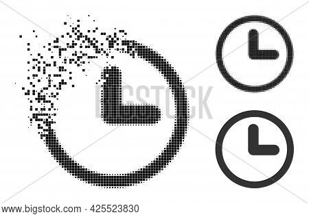 Disappearing Pixelated Clock Icon With Halftone Version. Vector Destruction Effect For Clock Symbol.
