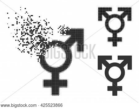 Shredded Dotted Polyandry Sex Symbol Glyph With Halftone Version. Vector Destruction Effect For Poly