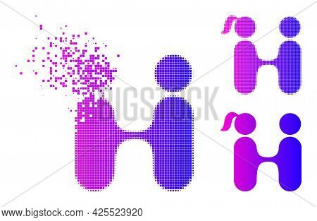 Disappearing Pixelated Lovers Meeting Pictogram With Halftone Version. Vector Destruction Effect For