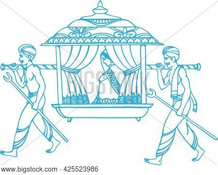 Sketch Of Indian Wedding Card Or Marriage Rituals Editable Outline Illustration And Design Elements