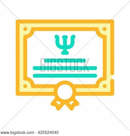 Diploma Psychologist Color Icon Vector. Diploma Psychologist Sign. Isolated Symbol Illustration
