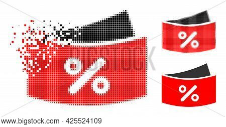Dissipated Pixelated Discount Coupones Pictogram With Halftone Version. Vector Destruction Effect Fo