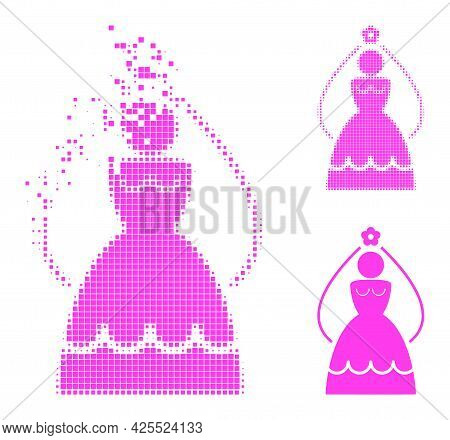 Moving Dotted Bride Pictogram With Halftone Version. Vector Wind Effect For Bride Pictogram. Pixelat