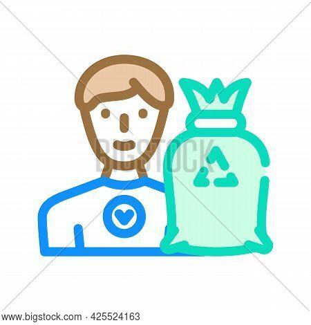 Volunteer Worker Color Icon Vector. Volunteer Worker Sign. Isolated Symbol Illustration