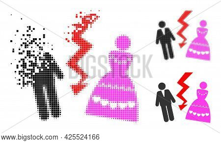 Dissolving Pixelated Divorce Persons Pictogram With Halftone Version. Vector Wind Effect For Divorce
