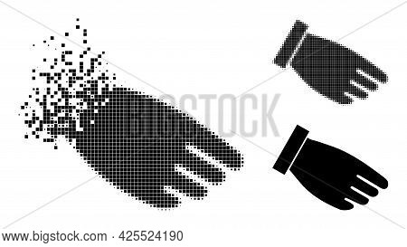 Disappearing Pixelated Hand Palm Pictogram With Halftone Version. Vector Wind Effect For Hand Palm S