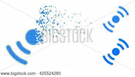 Moving Pixelated Air Turbine Rotation Pictogram With Halftone Version. Vector Destruction Effect For