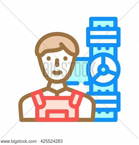 Plumber Worker Color Icon Vector. Plumber Worker Sign. Isolated Symbol Illustration