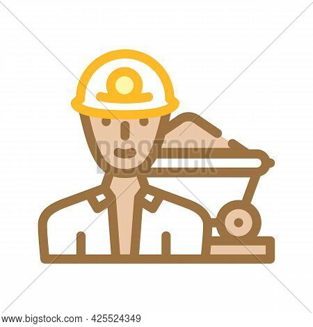 Miner Worker Color Icon Vector. Miner Worker Sign. Isolated Symbol Illustration
