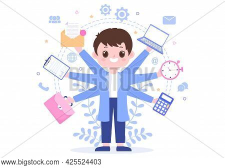 Multitasking Business Man Or Office Worker As Secretary Surrounded By Hands With Holding Every Job I
