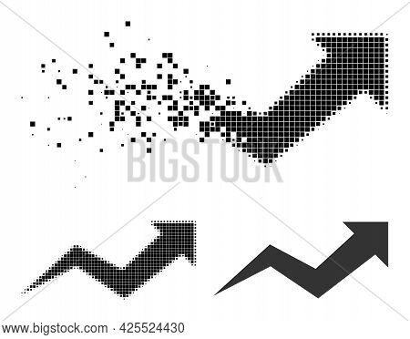 Erosion Dotted Growing Arrow Chart Icon With Halftone Version. Vector Destruction Effect For Growing