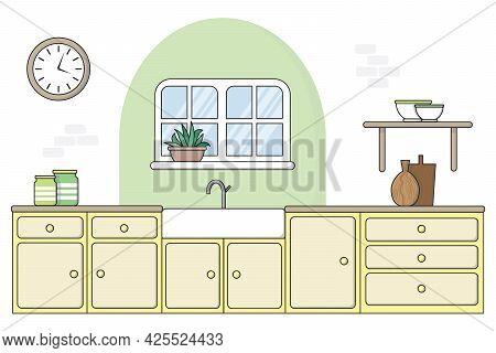 Flat Style Kitchen With Painted Arch, 2020 - 2021 Trending Interior Design Feature. Pastel Yellow Pa