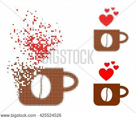 Dissolved Pixelated Love Coffee Cup Glyph With Halftone Version. Vector Destruction Effect For Love